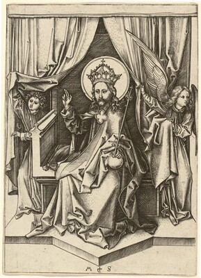 Christ Enthroned, with Two Angels