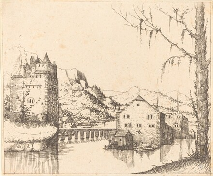 River Landscape with Island Houses