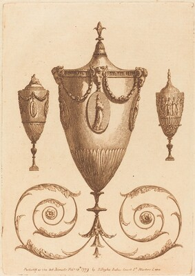 Three Classical Vases, One with Flourishes