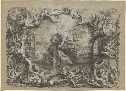 The Angel Carrying off Habakkuk by His Hair, Surrounded by an Elaborate Rococo Frame