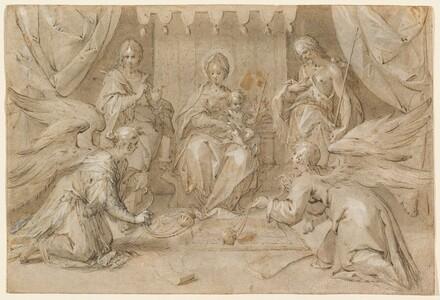 The Madonna Enthroned with Saint John the Baptist and Saint John the Evangelist