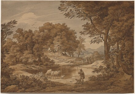 An Italianate Landscape with Shepherds