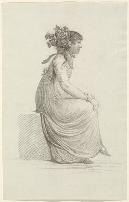 A Seated Young Woman Wearing a Fashionable Hat