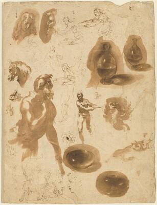 Studies of Glass Jars and Figures (recto)