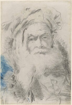 A Bearded Old Man Leaning His Head on His Hand
