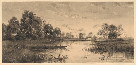 Evening on a River with a Boatman