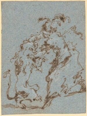 An Elegantly Dressed Woman Struggling with a Lion