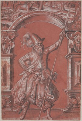 A Swiss Guard before an Ornamental Arch (recto)