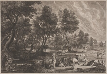 Farm Landscape with Hunters and Milkmaids