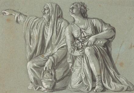 Two Kneeling Figures with Offerings