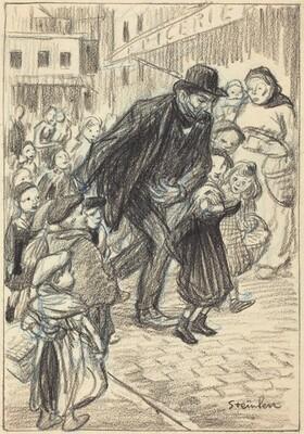 A Man on a City Street, Surrounded by Children (Un Père)