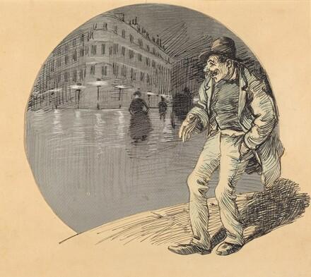 A Drunken Man in a Lamplit Street