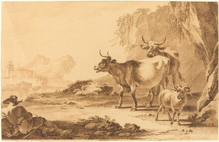 Landscape with Cattle, a Goat, and a Resting Shepherd