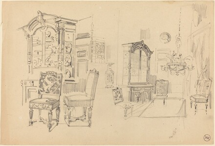 Two Studies of an Interior with Furniture