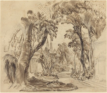 A Tree-lined Garden Path (Preliminary Sketch for Sleeping Beauty and the Beast?)