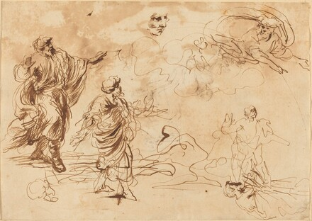 Studies for a Biblical Scene with God the Father Appearing to a Bearded Male Figure