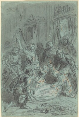 A Dramatic Scene with a Fainting Woman