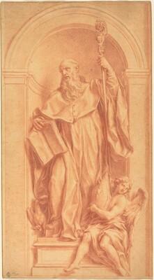 A Sculpture of Saint Benedict in a Niche
