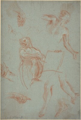 Sheet of Studies with Figures, Hands, and Feet