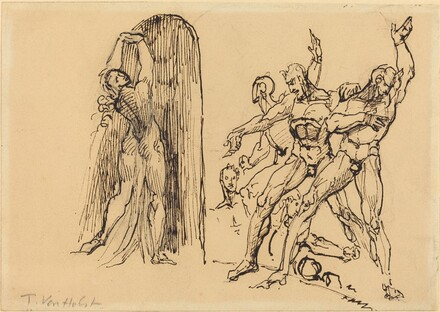 Five Male Nudes Gesticulating as a Nude Woman Enters a Portal