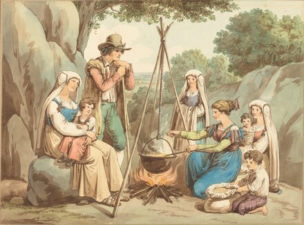 A Peasant Family Cooking over a Campfire