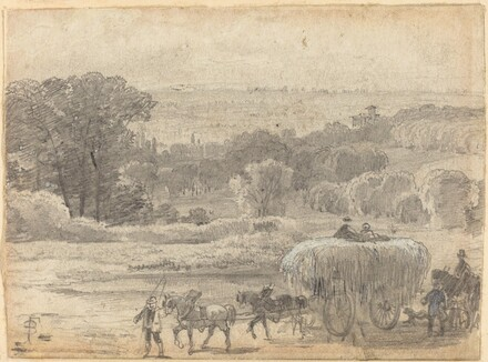 An Evening Landscape with a Hay Wagon