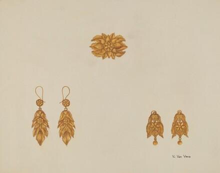 Brooch and Earrings