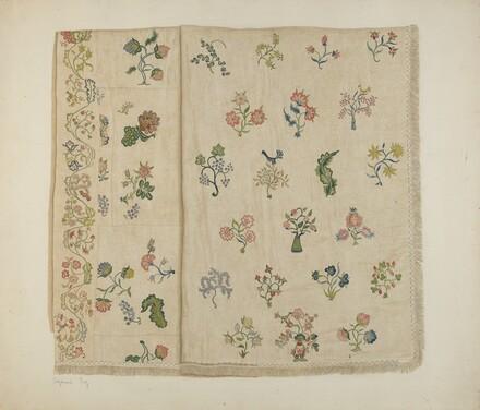 Crewel Embroidered Bedspread