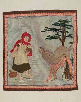 Coverlet Detail (Red Riding Hood)