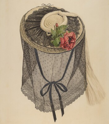 Lace and Straw Bonnet