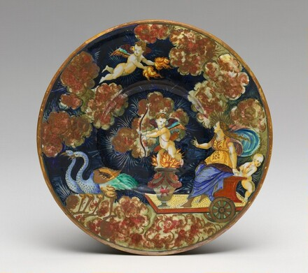 Plate with Venus in her chariot and Cupid, riding through a night sky
