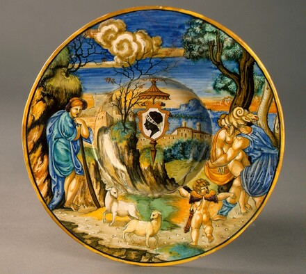 Broad-rimmed bowl with Neptune raping Theophane; arms of Pucci with an ombrellino