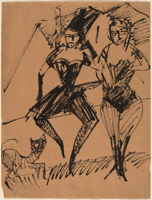 Two Dancers with a Cat