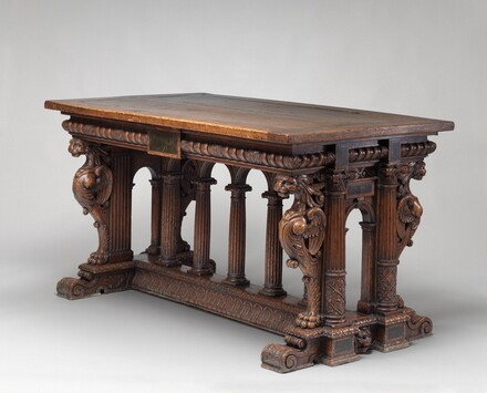 Walnut Table with Lion Sphinxes