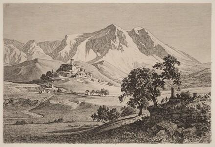 Veduta di Albe e Monte Velino negli Abruzzi