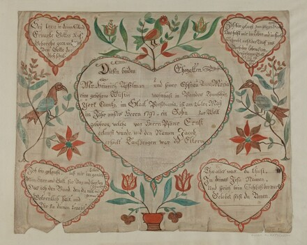 Pa. German Birth and Baptismal Certificate