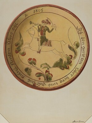 Plate with Soldier on Horseback