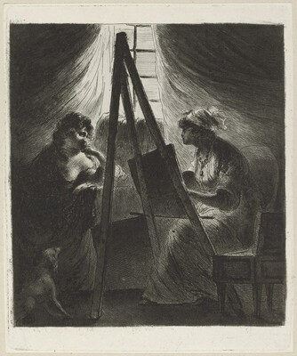 Woman Painter at Easel