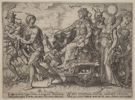 Periculum, Pauor, Latrocinium, Regina Pecunia, Stultitia, Invidia (Dangers and Vices Accompanying Welath)