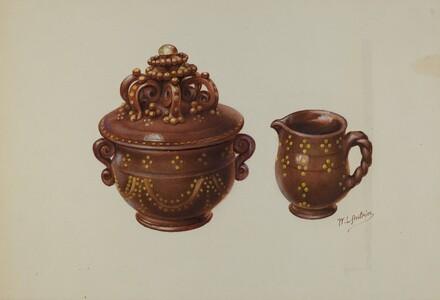 Pa. German Sugar Bowl and Creamer