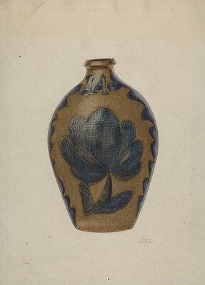 Pa. German Stoneware Flask
