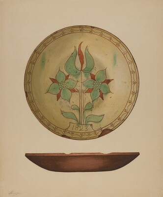 Plate with Tulip and Two Flowers