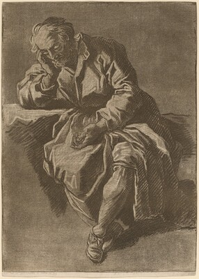 A Seated Elderly Man Asleep