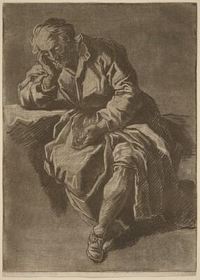 A Seated Elderly Man Asleep