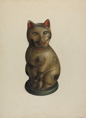 Pa. German Seated Chalkware Cat