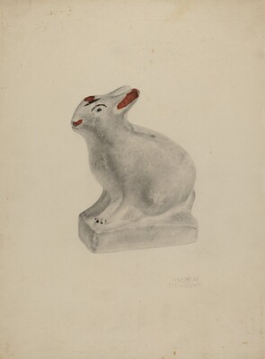 Pa. German Seated Chalkware Rabbit