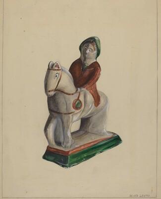 Pa. German Chalkware Woman on Horse