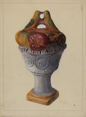 Chalkware Urn with Fruit and Birds