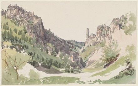 A Seated Man Contemplating a Sunlit Mountain Valley