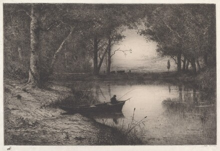 A Fisherman in a Wooded Pond at Evening